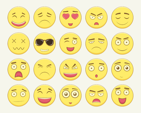 disappoint: Emoticon set. Emoticon for web site, chat, sms. Modern flat design. Illustration