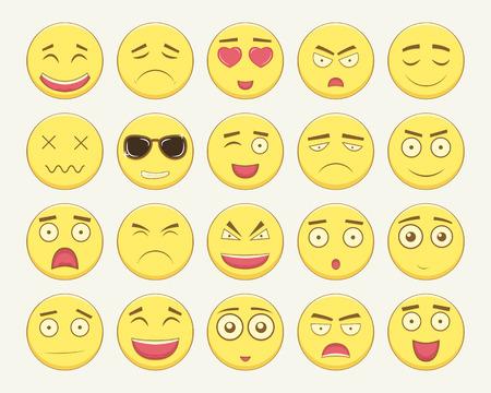iconography: Emoticon set. Emoticon for web site, chat, sms. Modern flat design. Illustration
