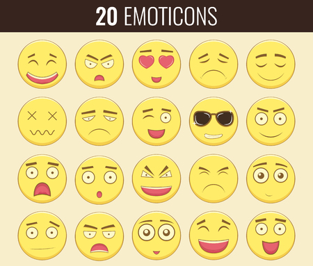 iconography: Emoticon set. Emoticon for web site, chat, sms. Modern flat design. Illustration