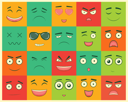 Set of square emoticons. Emoticon for web site, chat, sms.