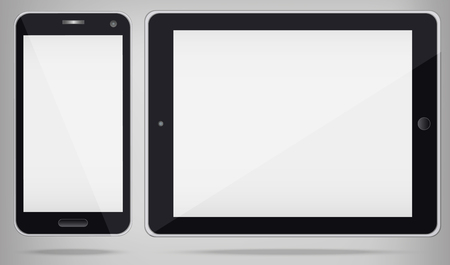 personal data assistant: Realistic Tablet PC and Phone with white screen.