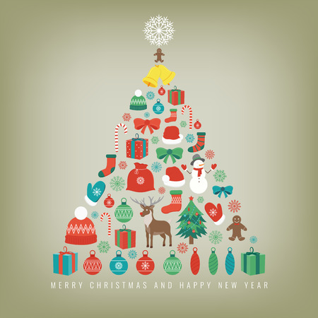 chrismas card: Christmas tree with decoration elements. Chrismas greeting card. Vector illustration