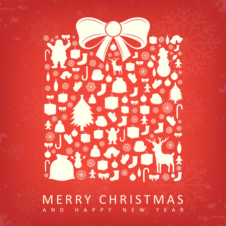 christmas gift box: Christmas card with gift box sillhouette and christmas decoration elements. Vector illustration