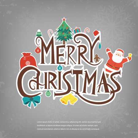 stave: Merry Christmas design greeting card. Christmas background. Vector illustration