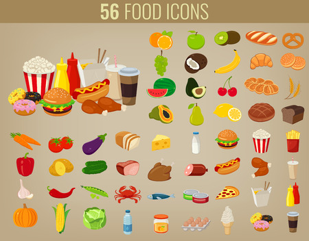 fresh food fish cake: Food icons set. Fruits and Vegetables icons. Fast food icons. Modern flat design. Vector illustration