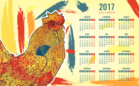 Calendar 2017. Colorful rooster - the symbol of the Chinese New year. Vector illustration