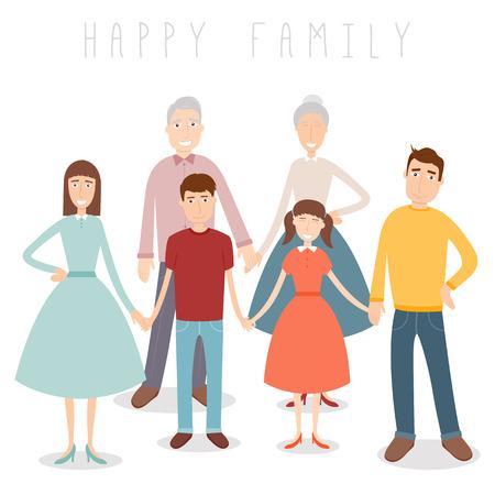 heterosexual: Big Family portrait. Traditional family. Vector illustration Illustration