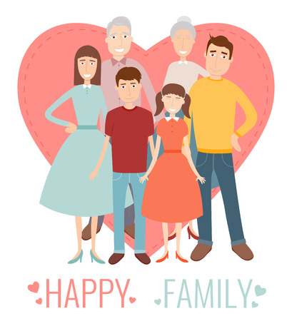Happy Family. Traditional family portrait. Vector illustration