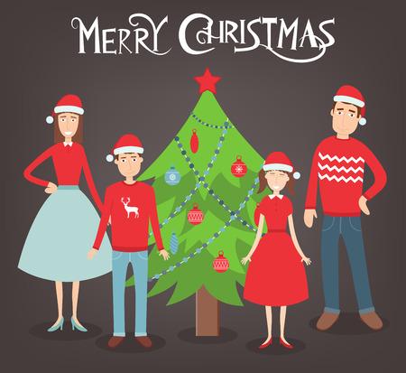 Retrato de la familia de la Navidad. Vacaciones en familia. ilustración vectorial Foto de archivo - 65654172