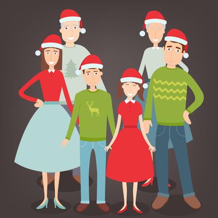 Christmas family portrait. Family holidays. Vector illustration