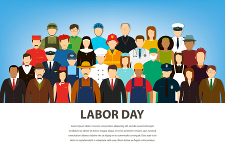 People of different occupations. Professions set. International Labor Day. Flat Vector illustration