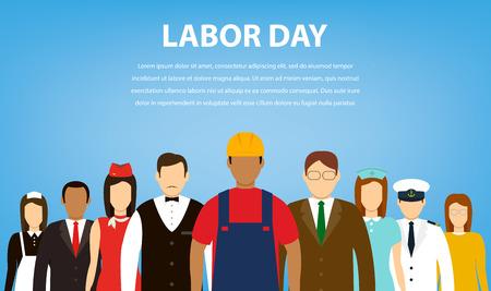 Mensen van verschillende beroepen. Beroepen ingesteld. Internationale Dag van de Arbeid. Vlakke Vector illustratie Vector Illustratie