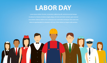 People of different occupations. Professions set. International Labor Day. Flat Vector illustration Vetores