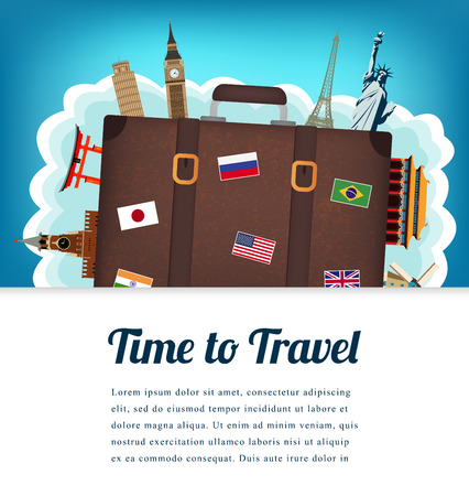 Travel composition with famous world landmarks. Travel and Tourism. Vector. Modern flat design