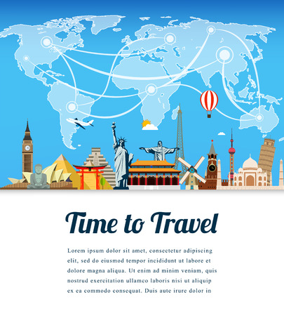 fly around: Travel composition with famous world landmarks. Travel and Tourism. Vector. Modern flat design