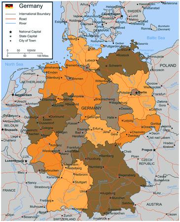 Duitsland kaart met selecteerbare gebieden. vector illustratie