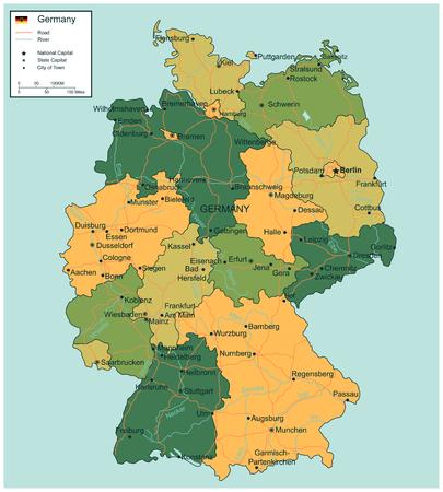 選択可能な地域とドイツの地図。ベクトル図
