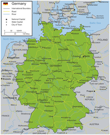 Germany map with selectable territories. Vector illustration