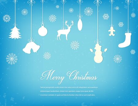 Christmas composition with snowlakes and decoration elements. Vector illustration Illustration