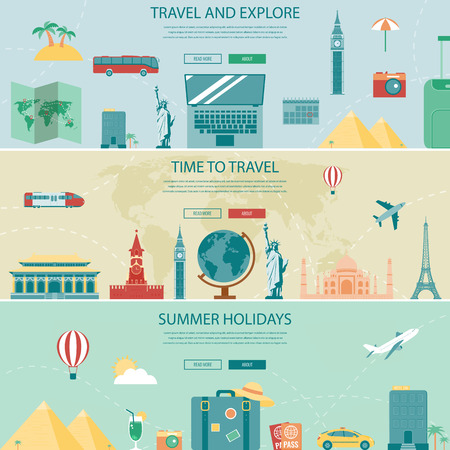 vector banners or headers: Travel and Tourism Headers, Banners. Concept website templates. Vector