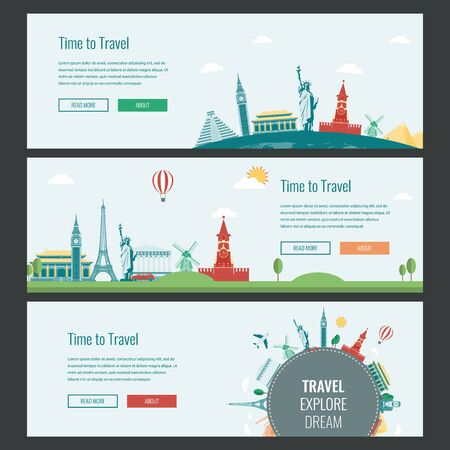 vector banners or headers: Travel and Tourism Headers, Banners with famous Landmarks. Vector