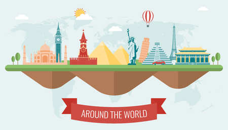 Travel composition with famous world landmarks icons. Vector Illustration