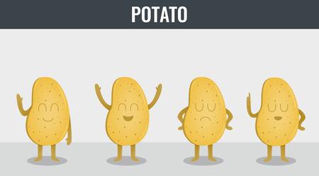 Patata. Verduras divertidos dibujos animados. Alimentos orgánicos. Vector