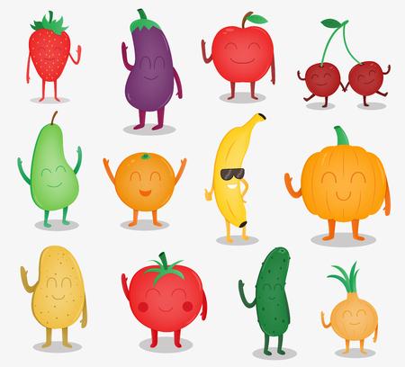Frutas y verduras de dibujos animados. Concepto de comida divertida. Alimentos orgánicos. Vector Vectores