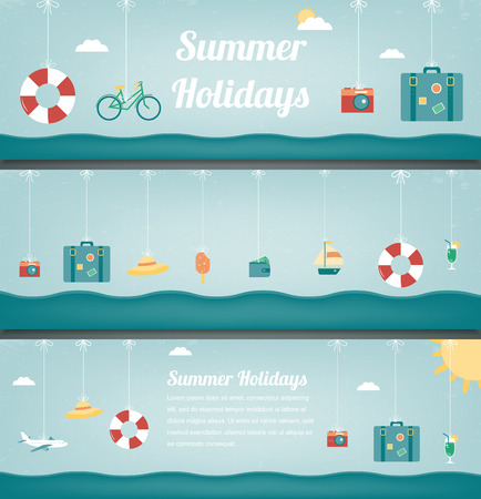 Summer travel banners. Summer holidays background. Vector illustration Ilustração