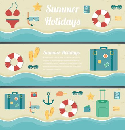 Summer travel banners. Summer holidays background. Vector illustration Illustration