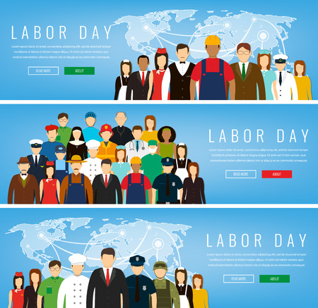 People of different occupations. Professions set. International Labor Day. Concept website template. Vector