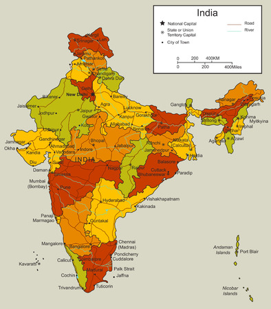labelling: India map with selectable territories. Vector