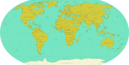 Highly detailed World Map. Vector Illustration