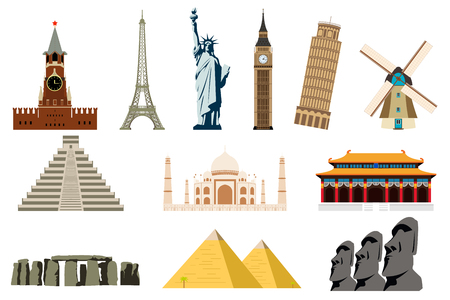 Famous World Landmarks. Travel and Tourism. Vector