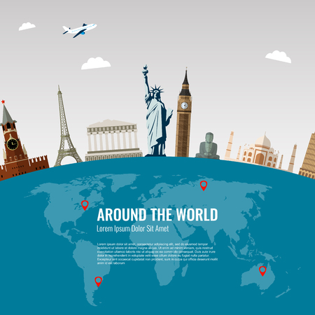 Travel background with famous World Landmarks icons. Vector