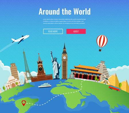 Reise Zusammensetzung mit berühmten Sehenswürdigkeiten in aller Welt. Reisen und Tourismus. Konzept-Website-Vorlage. Vektor-Illustration.