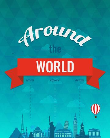 globe logo: Travel composition with famous world landmarks and vintage badge. Travel and Tourism. Abstract background. Vector