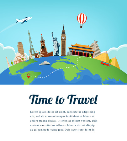 Travel composition with famous world landmarks. Travel and Tourism. Vector.