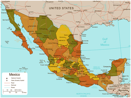 monterrey: Mexico map with selectable territories. Vector Illustration