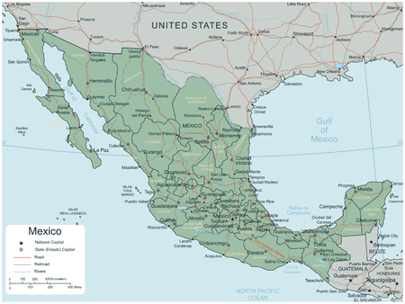 Mexico map with selectable territories. Vector Ilustração