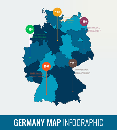 analytic: Germany map infographic template. All regions are selectable. Vector Illustration