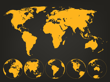 World Map with Globes. Infographic map. Vector