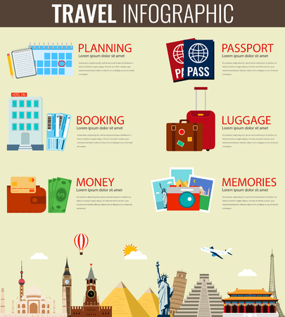 rating: Travel and Tourism. Infographic set with landmarks.