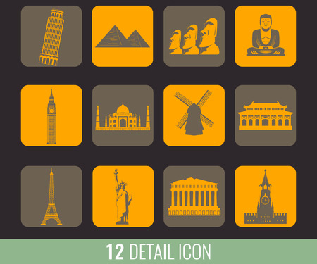 india culture: Famous World Landmarks. Travel and Tourism. Illustration