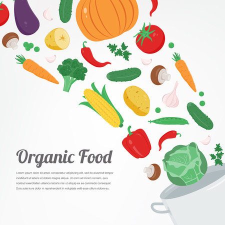 Organic food. Vegetable food icons. Healthy eating concept. Vector