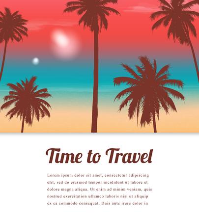 Travel background with exotic landscape. Vector Illustration