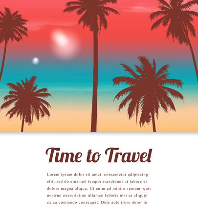 Travel background with exotic landscape. Vector Illustration