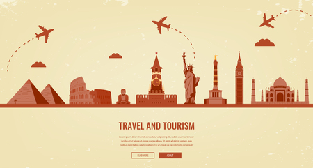 wanderlust: Travel composition with famous world landmarks. Travel and Tourism. Concept website template. Vector.