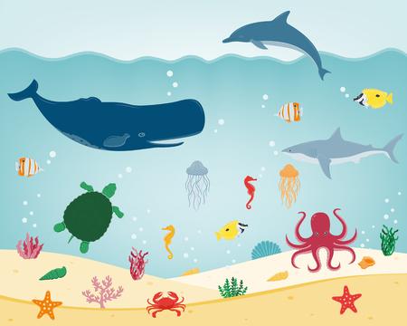 dive trip: Sea icons and symbols set. Sea animals. Nautical design elements. Vector illustration