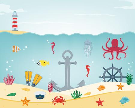 dive trip: Sea icons and symbols set. Sea animals. Nautical design elements. Vector